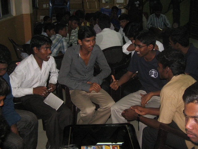 Bro_ Vinoth sharing the gospel to the new youth boy